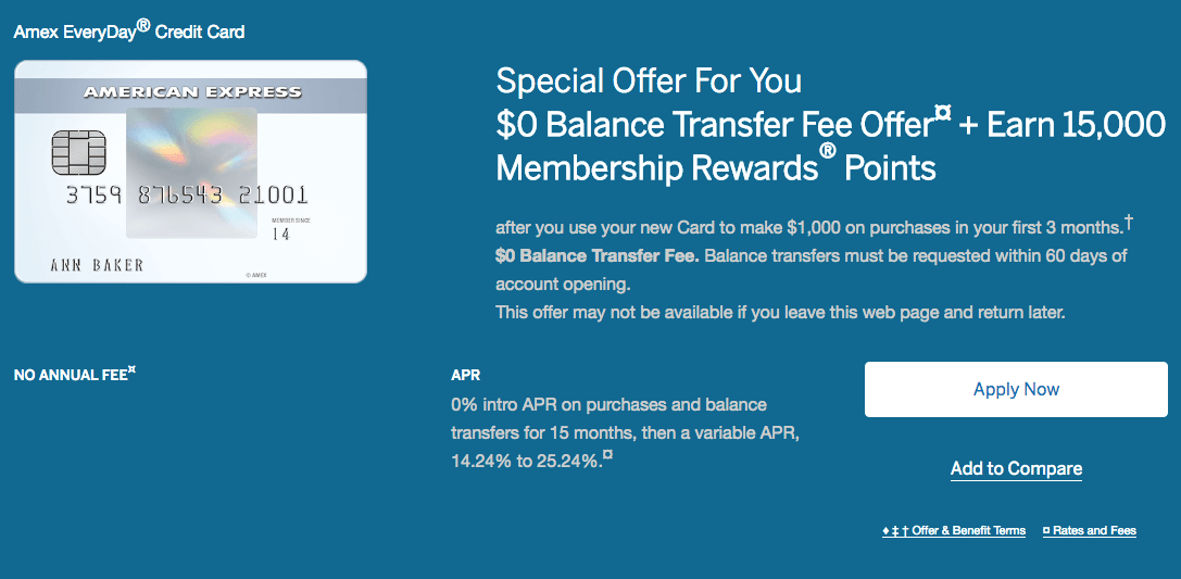New Offer From Amex Everyday Card 0 Balance Transfer Fee Extended Intro Apr