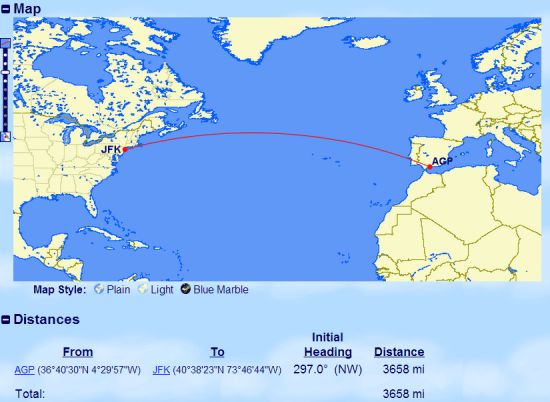 AGP-JFK distance calculated using GCMap. The TPM is 3658 miles.