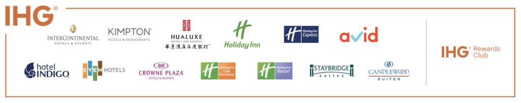 All the brands of Intercontinental Hotels Group - IHG