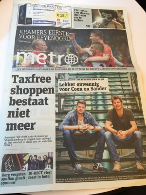 Metro Holland 17th August 2015 front page