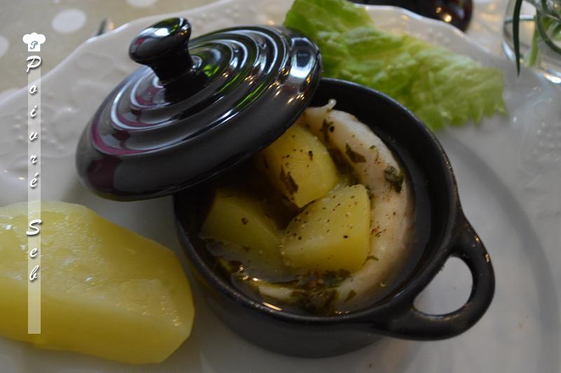 Marmite de flétan et crevette au vin blanc