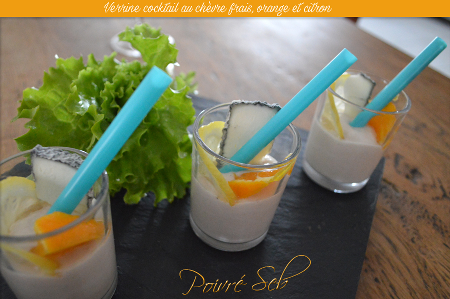 Verrine cocktail au chèvre frais, orange et citron 2