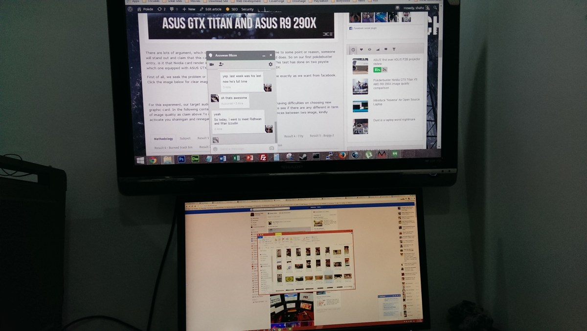 "My 40"" HDTV (top) vs the 28"" PB287Q (bottom)"