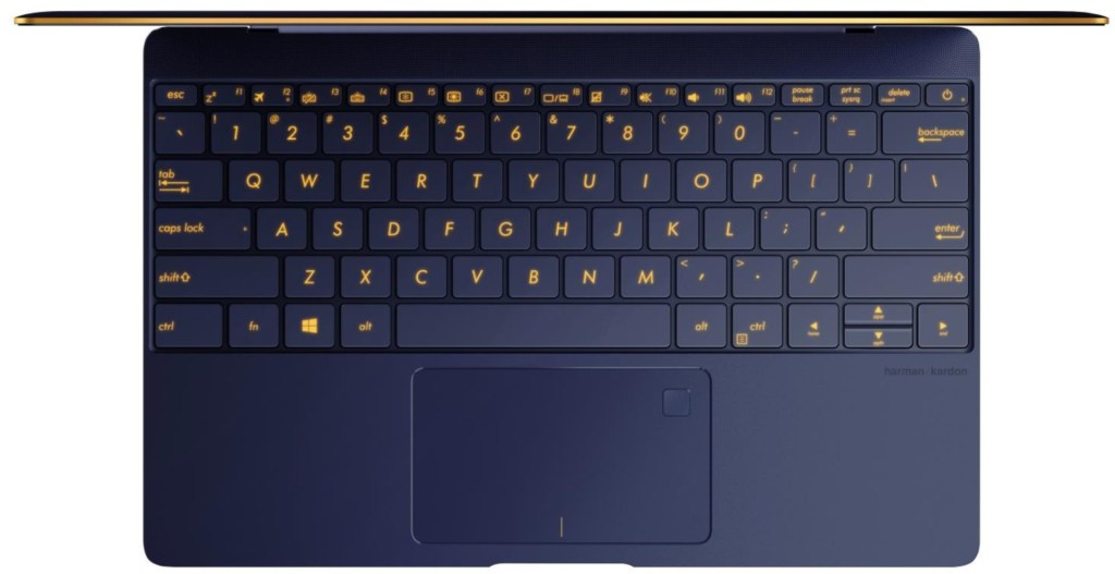 Inside, Asus has integrated gold keys keyboard. Yep, that's where the fingerprint sensor resides too on the Malaysian unit.