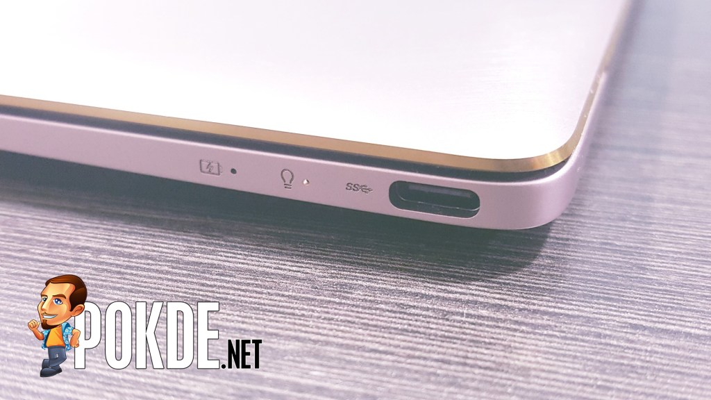 The USB 3.1 Type-C port that supports display output and serves as charging port, on the right side.