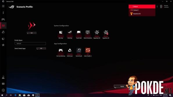 Profiles that can be linked to your ROG Keystone.