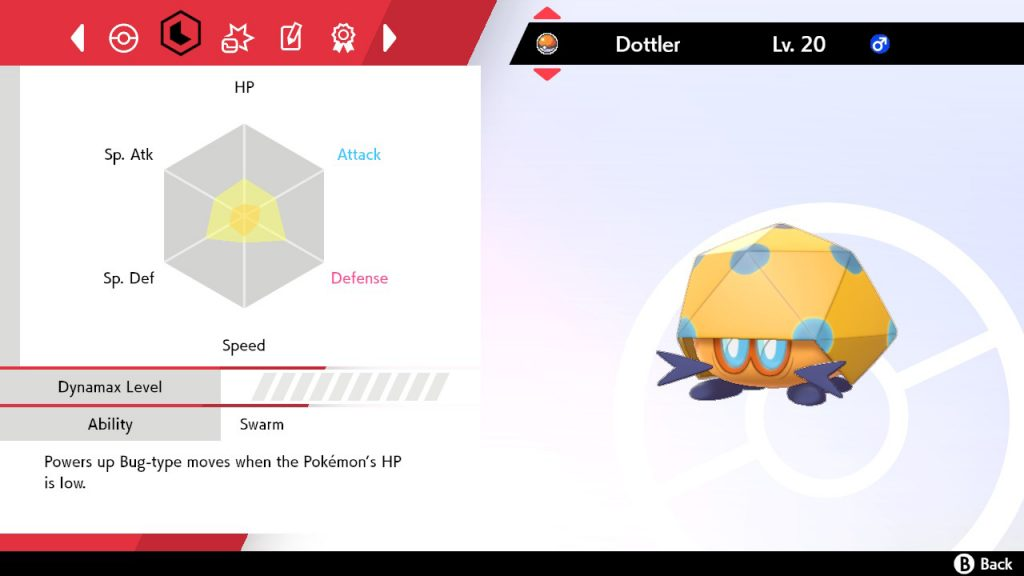 Dottler showing the EVs it has gained in Pokémon Sword & Shield
