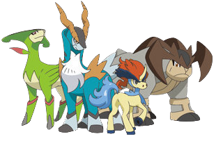 Cobalion, Terrakion, Virizion and Keldeo make up the Swords of Justice