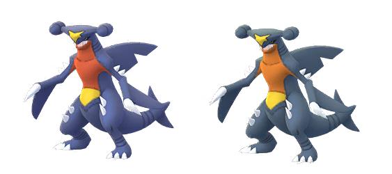 Garchomp and Shiny Garchomp from Pokémon GO