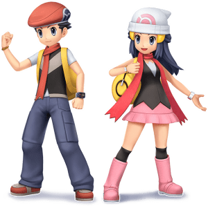 Lucas and Dawn from Pokémon Brilliant Diamond and Shining Pearl
