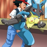Ash form Pokemon fucks a female Lucario while sqeezeing her tits!