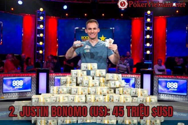 Justin Bonomo, top 10 cao thủ poker kiếm tiền, đánh bài poker kiếm tiền