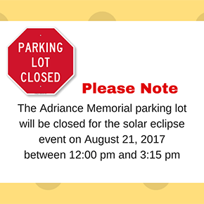 No Parking on 8/21 at Adriance from 12-3:15pm