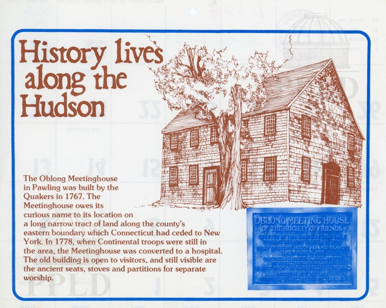 Page from a calendar with an illustration of the Oblong Meeting house and a brief history.