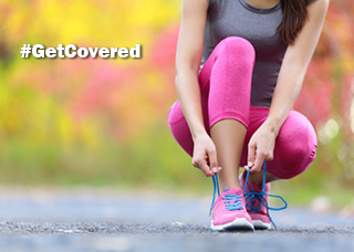 #GetCovered Woman tying her shoe