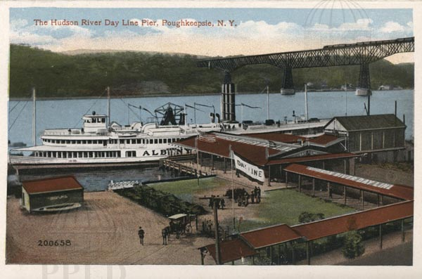 Vintage Postcard of Hudson River Day Line Pier with Steamer docked in Poughkeepsie, NY