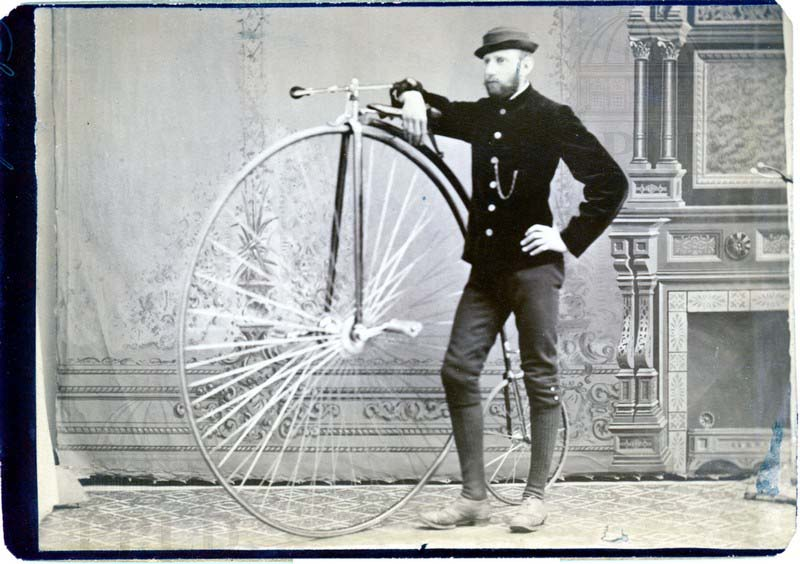 Vitage photo of A Frank Schwartz with his penny farthing bicycle