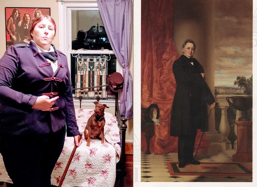 Photoof Shannon recreating historic painting of Matthew Vassar
