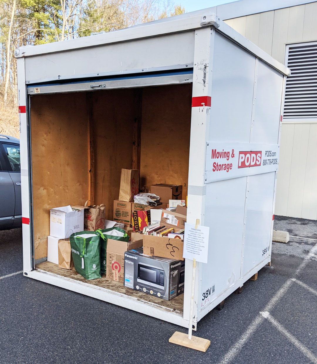 Picture of Pod storage container used by the Friends to accept donations
