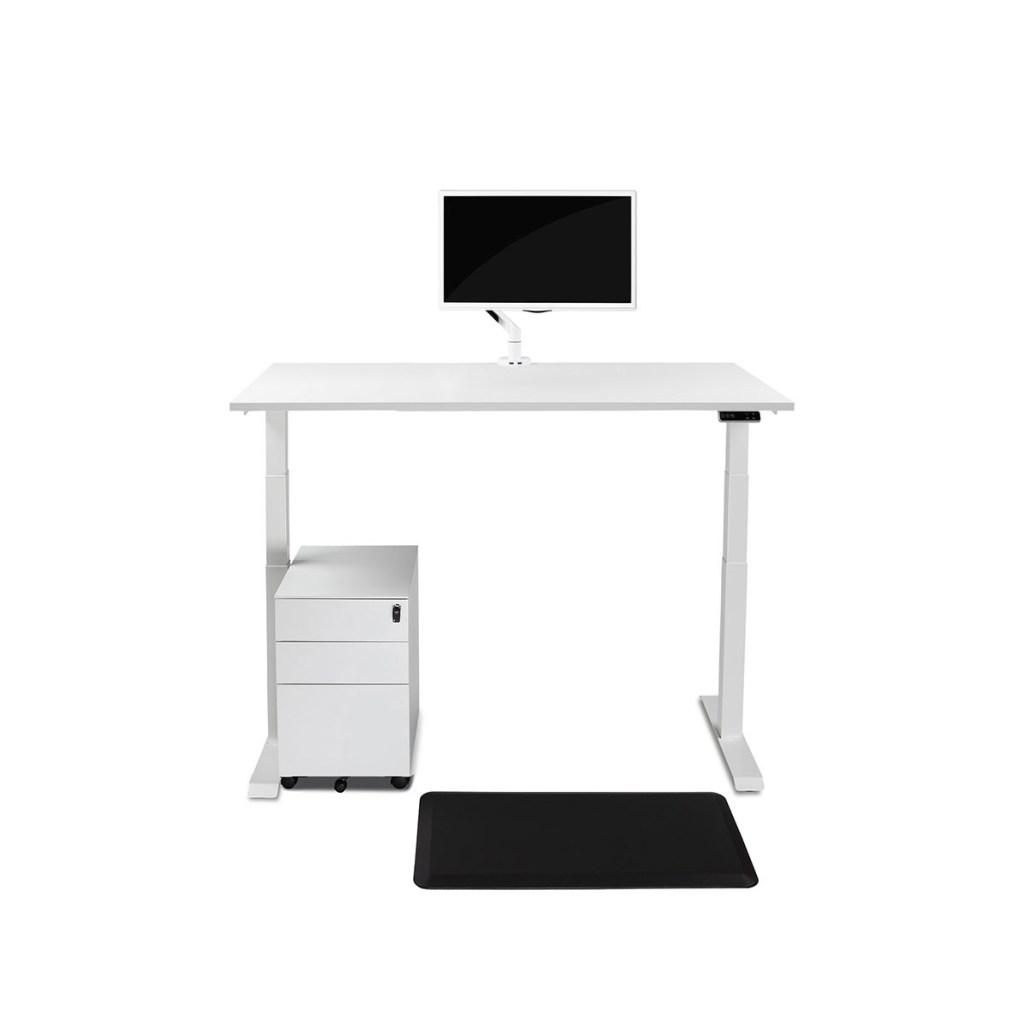 Biurko białe podnoszone elektrycznie z regulowaną wysokością do pracy stojącej, Comfort ZB-200