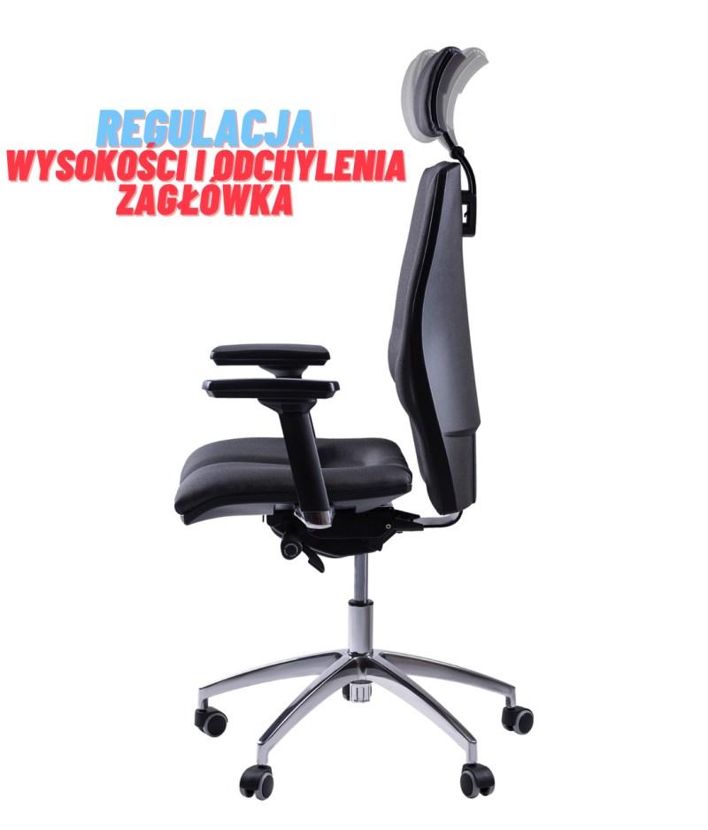regulacja zagłówka, fotel ergonomiczny Elegance kulik system