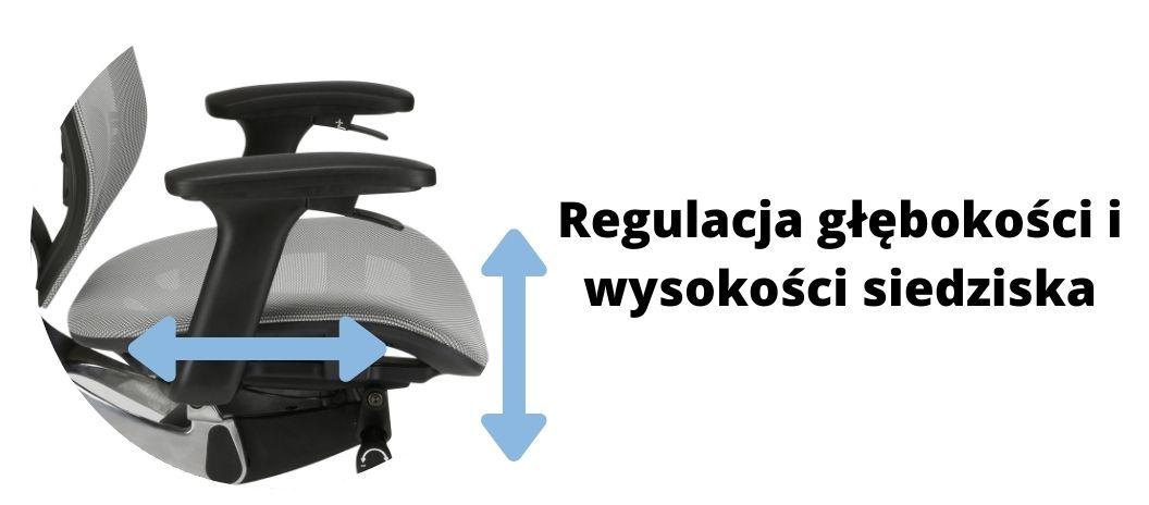 Wygodny fotel ergonomiczny biurowy Zhuo Insight, regulowana głębokość siedziska