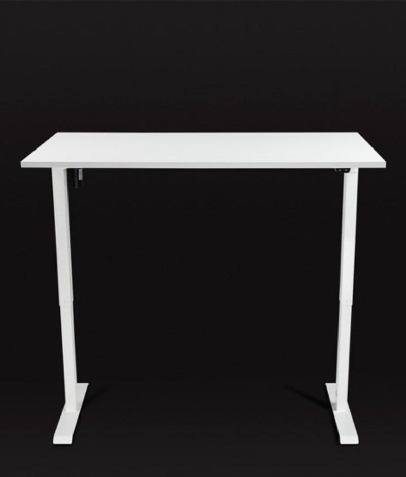 Biurko białe z elektrycznie regulowaną wysokością do pracy przed komputerem na stojąco i siedząco, Basic