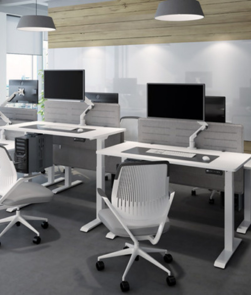 Biurko podnoszone elektrycznie z regulowanÄ… wysokoÅ›ciÄ… do pracy stojÄ…cej i siedzÄ…cej przy komputerze, Comfort ZB-200