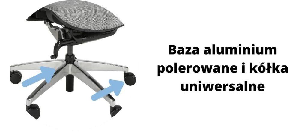 Wygodny fotel ergonomiczny biurowy Zhuo Insight, podstawa aluminiowa i uniwersalne kółka