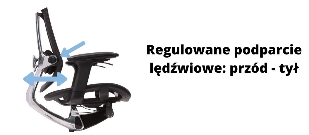 fotel biurowy ergonomiczny Zhuo Maven, regulacja podparcia lędźwiowego