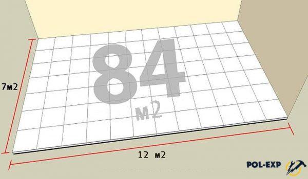 Cálculo del número de baldosas en el piso.
