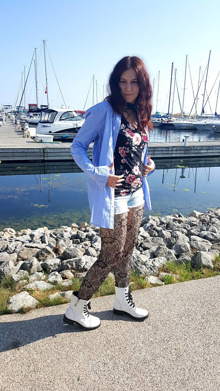 Polar Bear Style Chambray Shirt Floral Choker Top Jean Shorts Lace Tights White Combat Boots