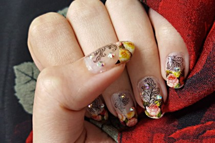 Polar Bear Style Floral Crystal French Nails Decals China Glaze Top Base Coat