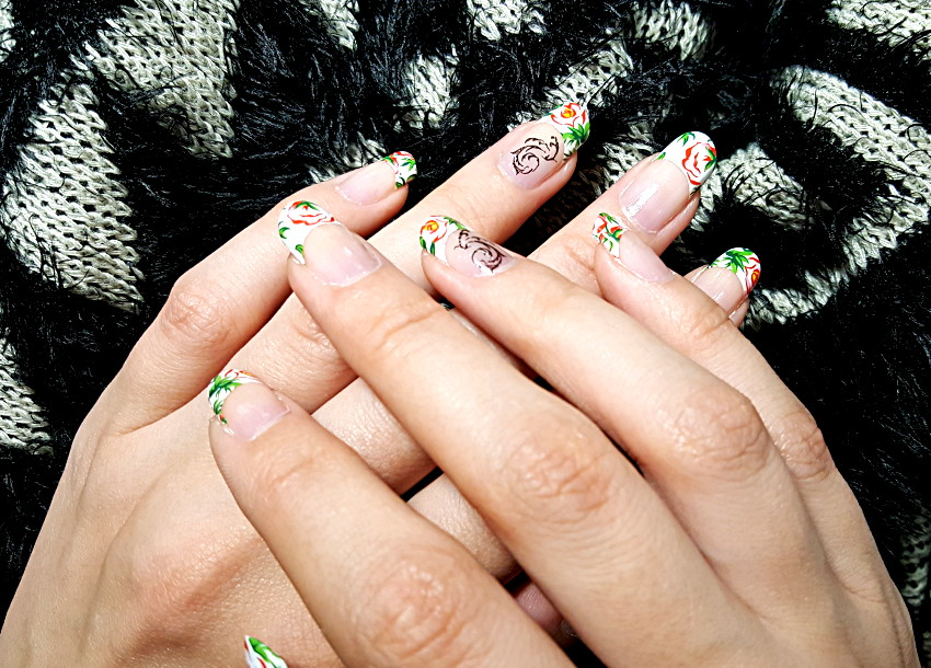 Polar Bear Style Floral White French Nails Black Leaves Decals China Glaze Top Base Coat
