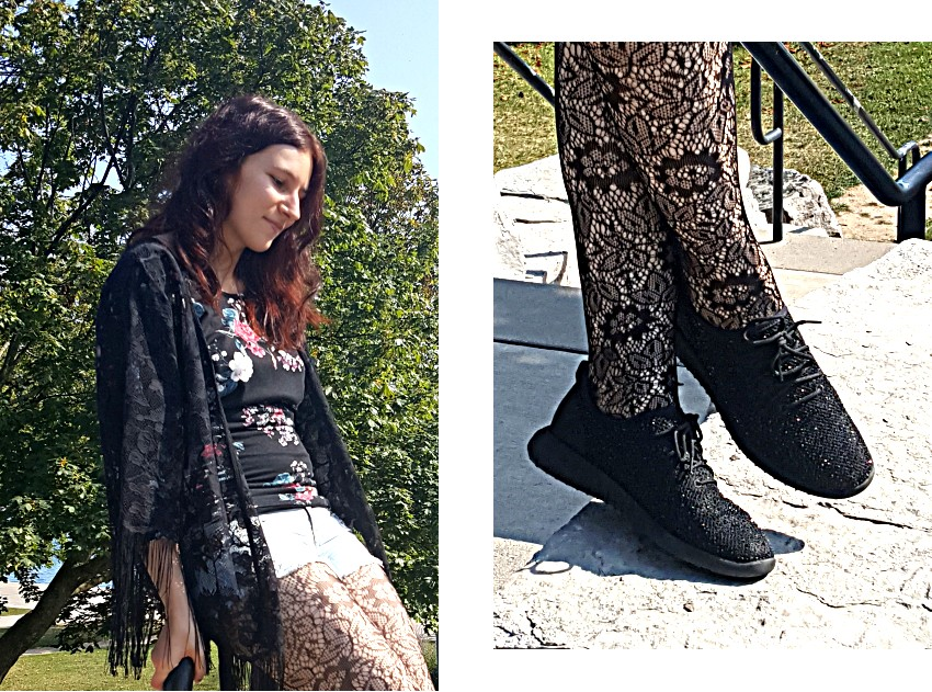 Polar Bear Style Lace Fringe Black Kimono Floral Top Jean Shorts Lace Tights Crystal Sneakers