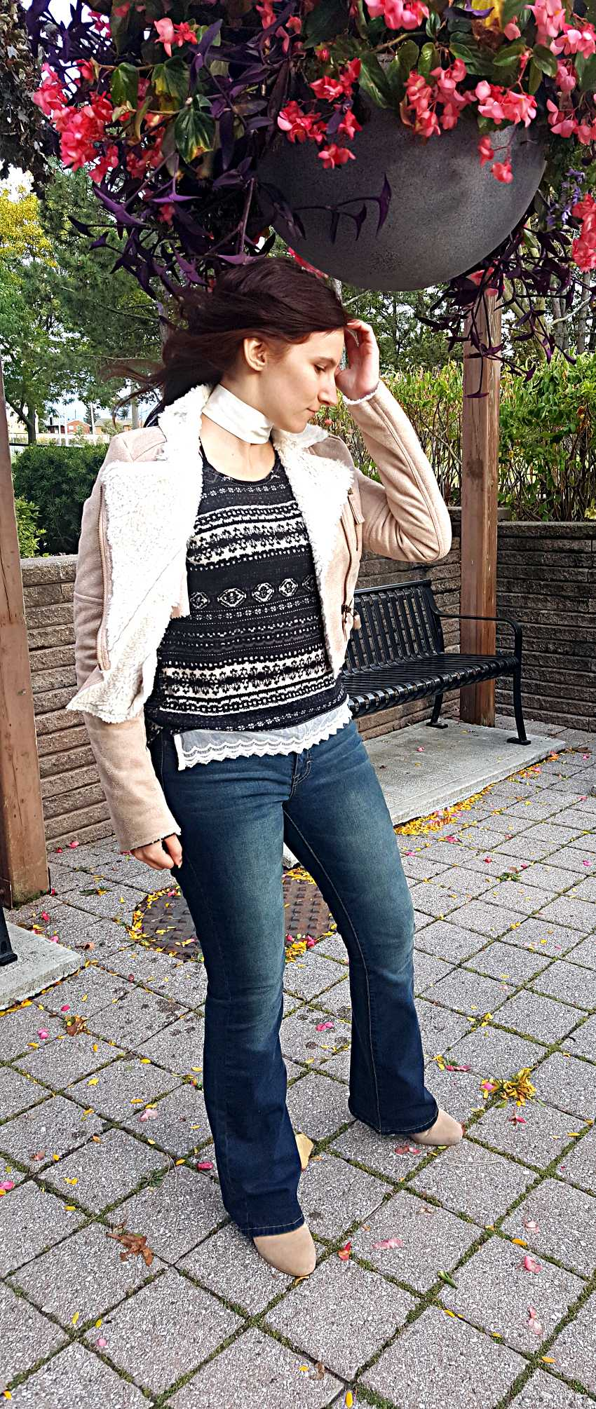 Polar Bear Style Lace Top Tan Shearling Jacket White Leather Choker Dark Denim Suede Booties