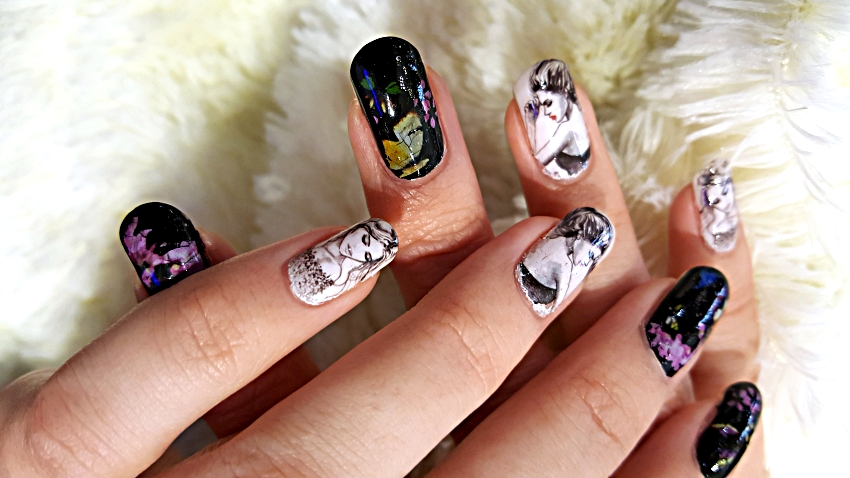 Polar Bear Style Black White Nails Ladies Decals Floral butterfly Foils