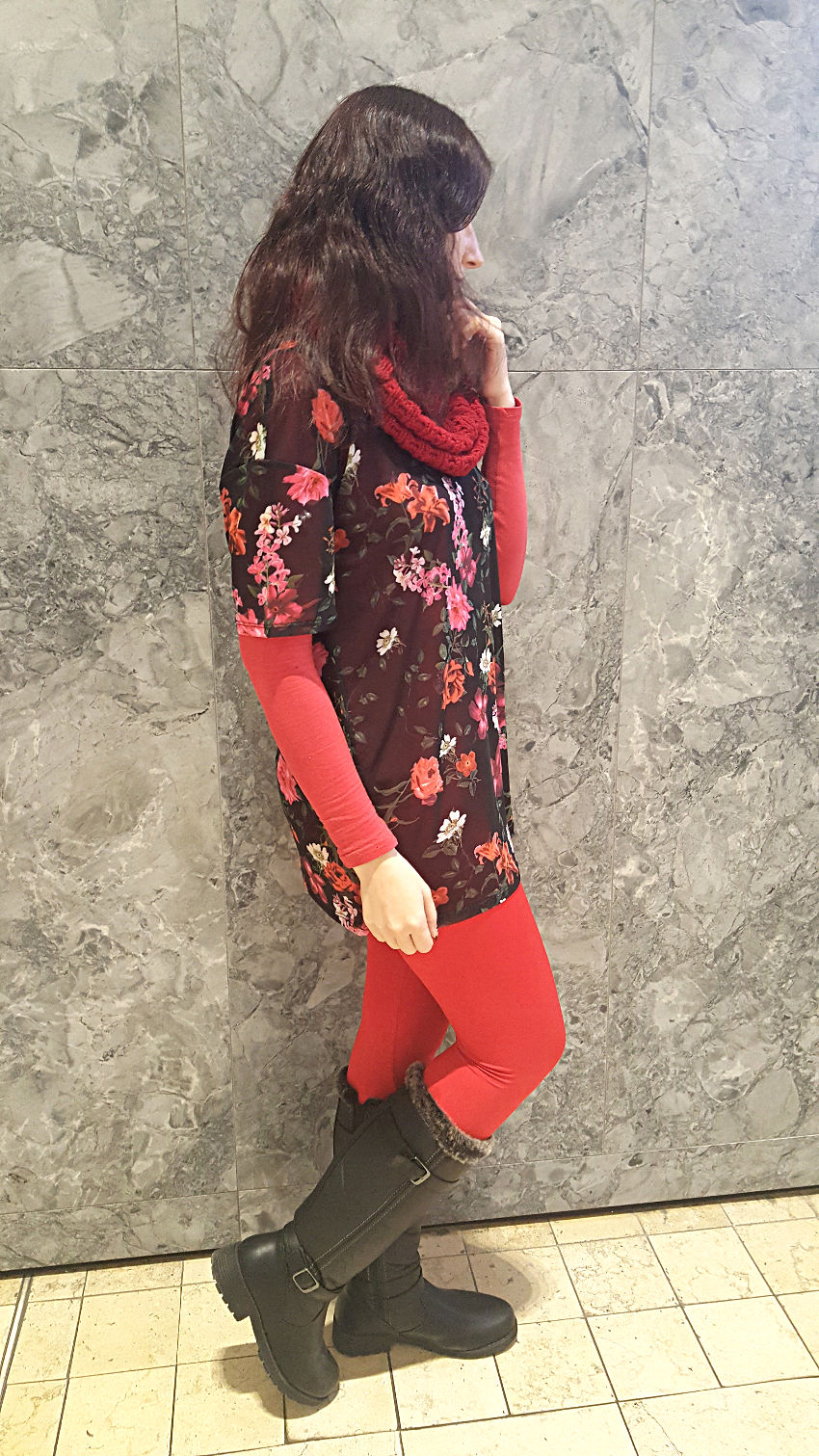 Polar Bear Style Black Floral Mesh Tunic Red Top Red Leggings Red Knit Scarf Black Boots