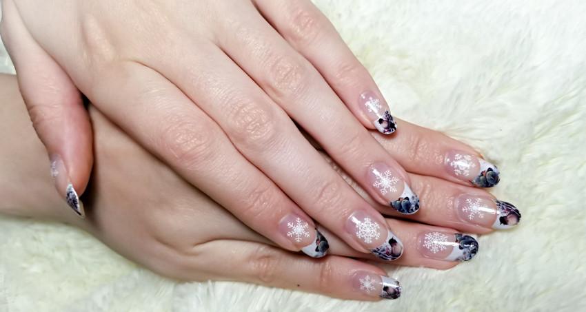 Polar Bear Style Winter Nails Birds Pines Snowflakes French Manicure China Glaze Top Base Coat