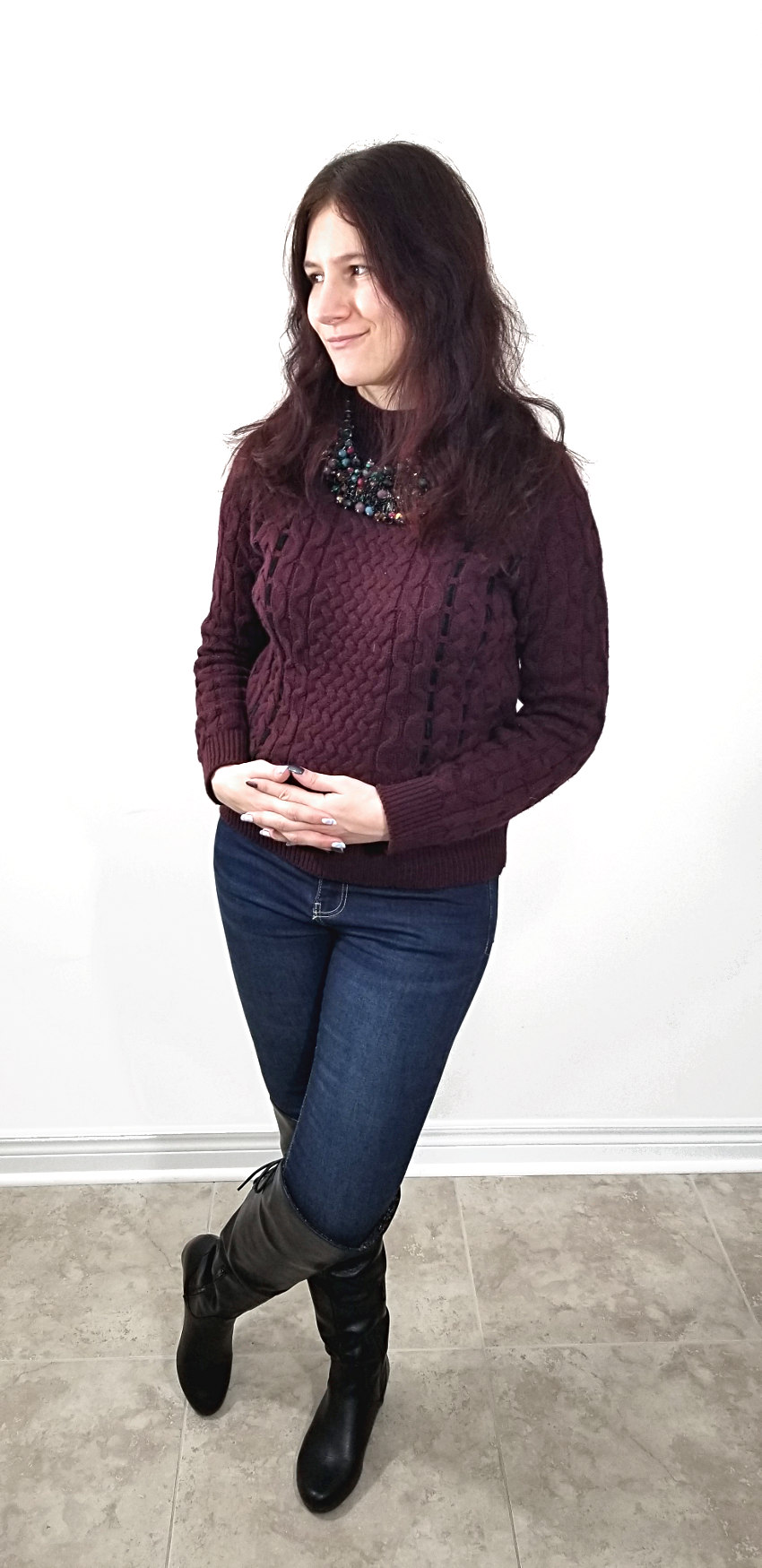 Polar Bear Style Laced-Up Burgundy Knit Sweater Black Statement Necklace Black Tall Boots