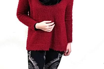 Polar Bear Style Owl Leggings Burgundy Oversized Sweater Black Fuzzy Scarf Patent Leather Combat Boots