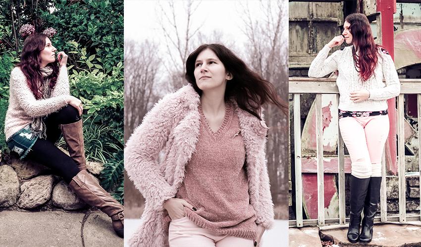 Polar Bear Style Valentine s Day Pink Fuzzy Sweater Denim Skirt Black White  Jeans Monochrome Rose Gold 515c1e546