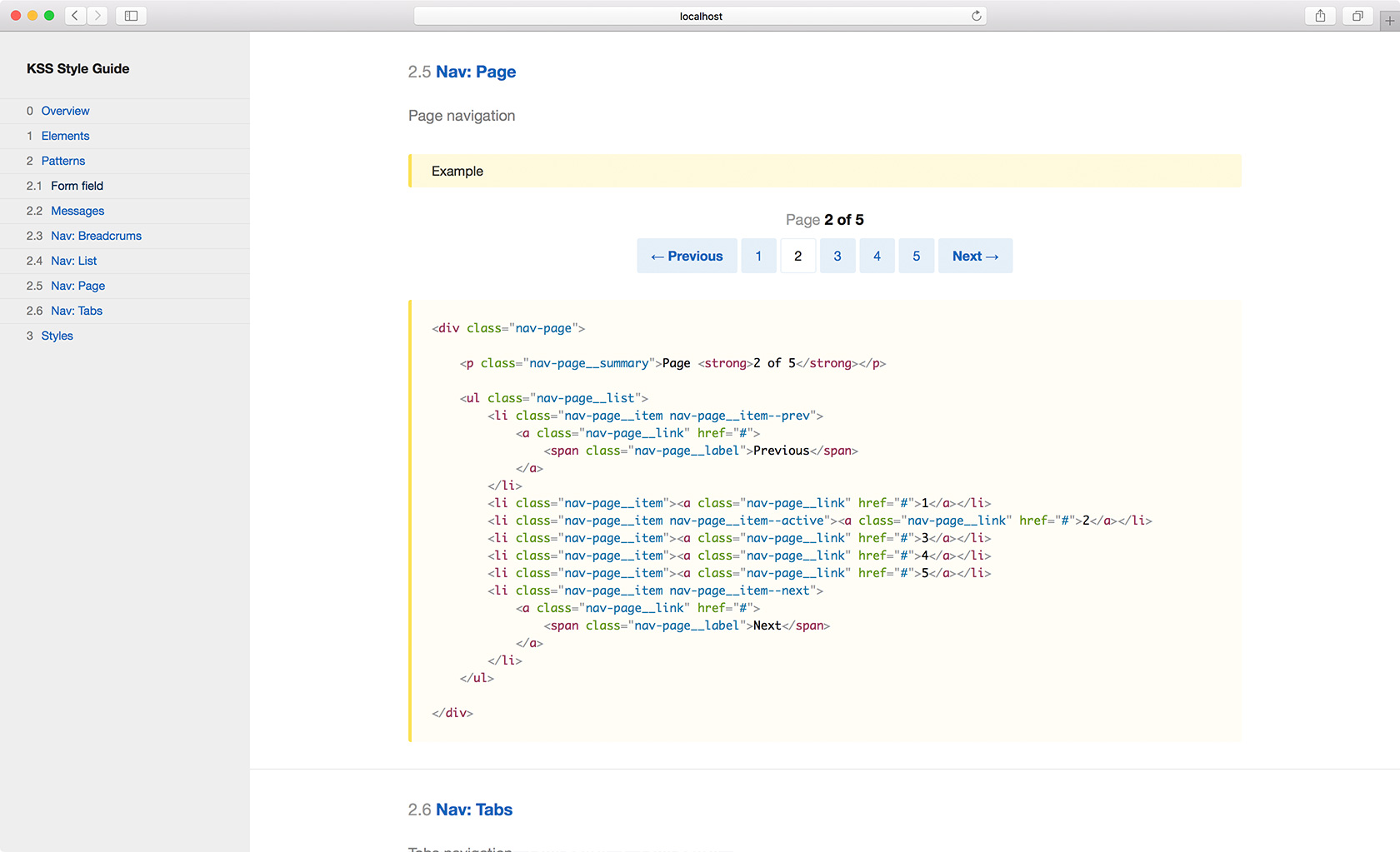 KSS style guide example: Nav page component