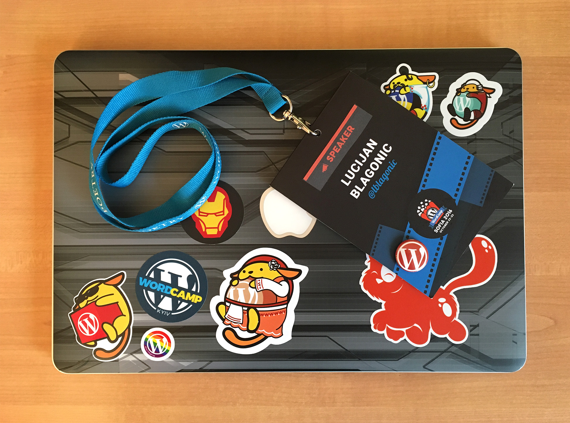 WordCamp Sofia 2016 lanyard and sticker