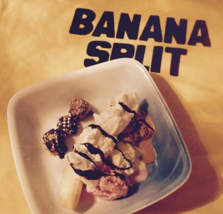 Banana split, strawberry ice cream, vanilla ice cream, chocolate ice cream