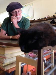 My go-to shoe repair guy at Cecil's Shoe Repair, and his cat Mr. Felix