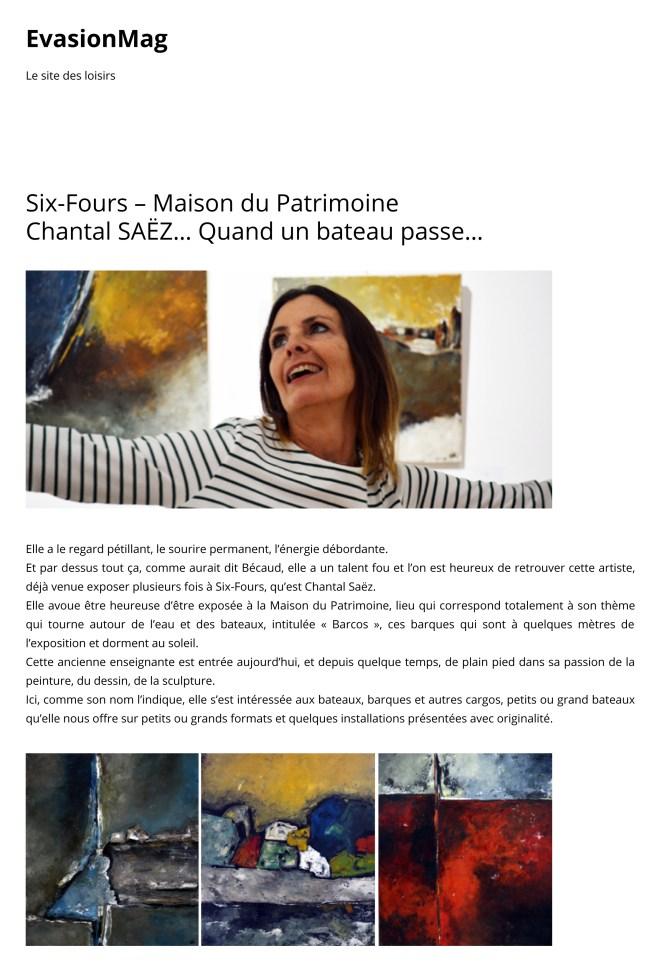 Six-Fours – Maison du Patrimoine Chantal SAËZ… Quand un bateau passe… _ EvasionMag-1