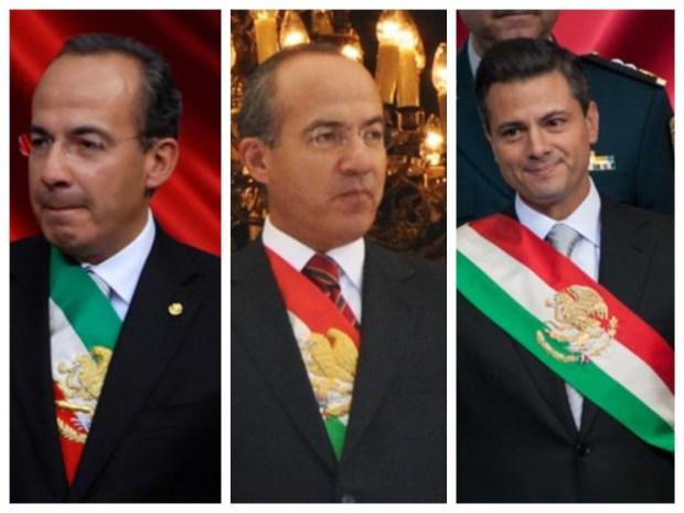 A la izquierda, FCH con la banda presidencial que le entregó Fox. Al centro, la banda modificada. A la derecha, con la banda que recibió de Calderón.