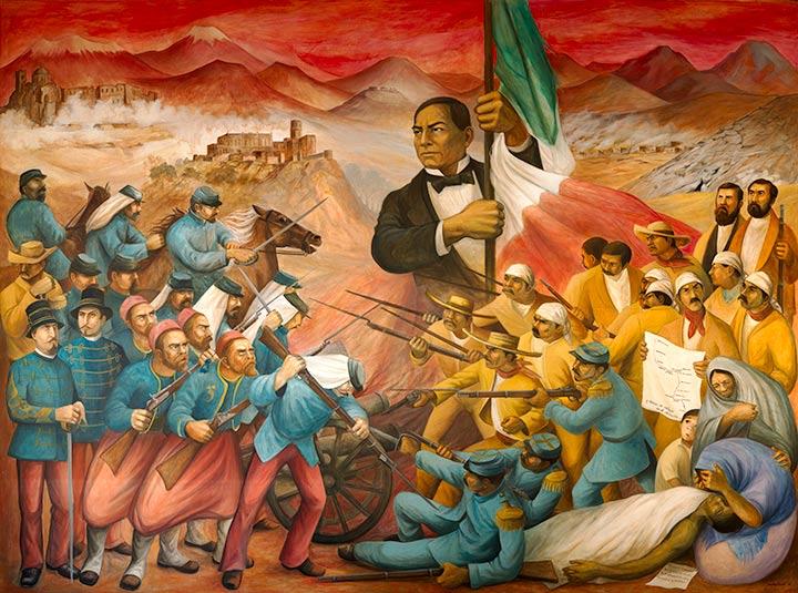 Benito Juárez contra los intereses franceses. Mural de Antonio González Orozco. 1972