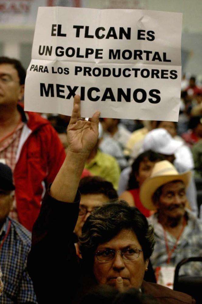 Campesinos contra el TLCAN. Foto: Cuartoscuro